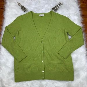 Nordstrom Collection Green 100% Cashmere Cardigan